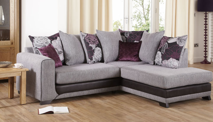 Scs Danni Chaise Left Hand Facing Purple And Grey Corner Sofa
