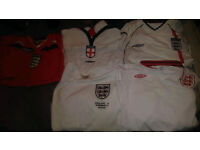 Job Lot 5x ENGLAND Football shirts All long sleeved 3 Large 2 xl Mens