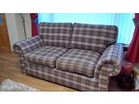 2 seater and 3 seater sofas plus large footstool