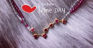 """""""waving from stars"""" ruby 18K gold choker/necklace set"""