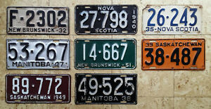 CANADIAN AUTOMOBILE LICENCE PLATES FOR SALE