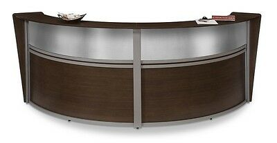Double Unit Reception Desk In Walnut Finish With Plexi Glass And Silver Frame