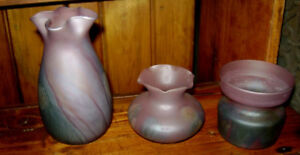 HAND PAINTED BLOWN GLASS WATER COLOUR VASES-3 PINK/BLUE/GREEN