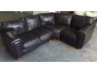 DFS Brown Leather Corner Sofa (comes in 3 parts) .WE DELIVER