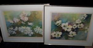 PAIR of 1945 LITHOGRAPH PRINTS of GORGEOUS FLOWERS by F.KROGER