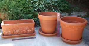 Terra Cotta Clay Planters - all 3 for $40 - Like New   Made in