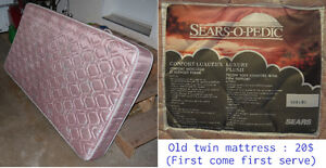 Old twin mattress for 20$ : first come first serve.