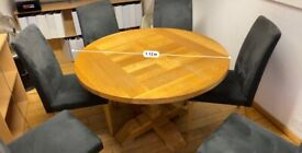 Solid wood round table with six chairs