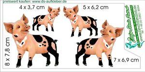 witzige mini pic ferkel schweinchen 4 st ck set auto caravan laptop aufkleber ebay. Black Bedroom Furniture Sets. Home Design Ideas
