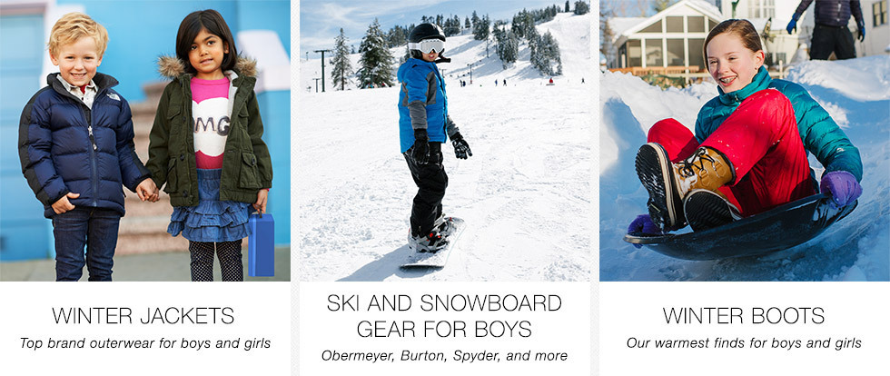 Winter Jackets | Top brand outerwear for boys and girls | Ski and Snowboard Gear for Boys | Obermeyer, Burton, Spyder, and more | Winter Boots | Our warmest finds for boys and girls | Shop now