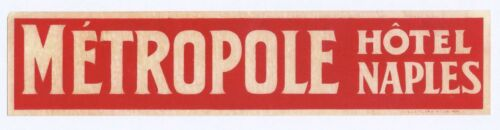 """Metropole Hotel Naples White Red Long 8"""" Strip Hotel Luggage Label"""