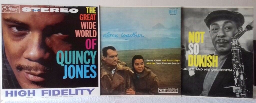 3 LPs - Quincy Jones; Benny Carter and Oscar Peterson; Johnny Hodges