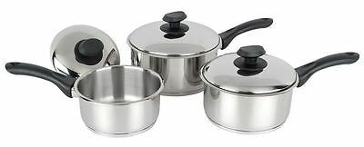 Pendeford Stainless Steel Collection Sauce Pan Set With Lids - 3 Piece