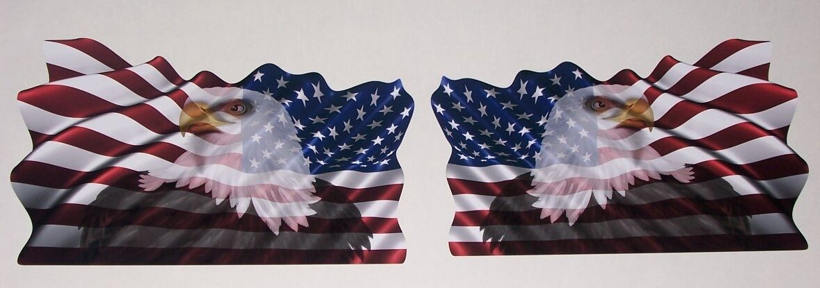 PAIR Waiving American Flag Bald Eagle Window Decal Decals Ram f150 chevy GMC