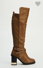 New Metallic Heel Knee High Boots , size 4,