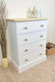NEW IN - Painted White Pine Chest Of Drawers With Dovetail Joints