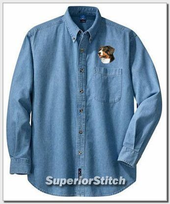 GREATER SWISS MOUNTAIN DOG embroiderd denim shirt XS-XL