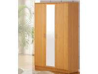 3 Door Mirror Wardrobe - Available in 7 Colors BRAND NEW