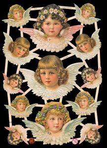 Victorian Original German Die Cut Scraps - Angels Fairies Roses Violets Cats