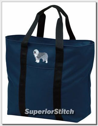 OLD ENGLISH SHEEPDOG embroidered tote bag ANY COLOR