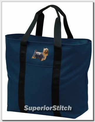 SILKY TERRIER embroidered tote bag ANY COLOR