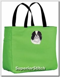 JAPANESE-CHIN-embroidered-essential-tote-bag-ANY-COLOR