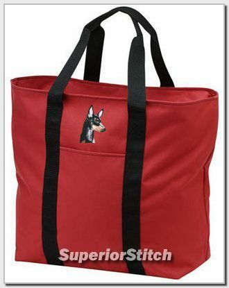 MANCHESTER TERRIER embroidered tote bag ANY COLOR