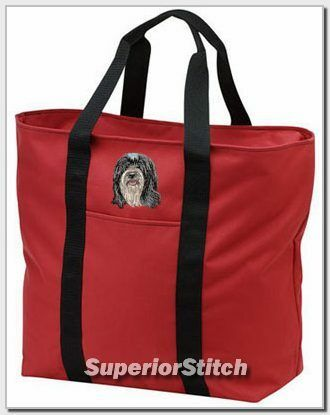TIBETAN TERRIER embroidered tote bag ANY COLOR