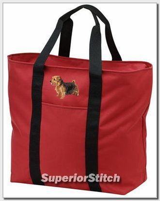 NORFOLK TERRIER embroidered tote bag ANY COLOR