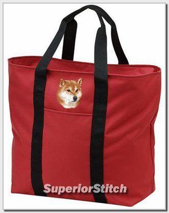 SHIBA INU embroidered tote bag ANY COLOR