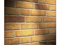 Brick tiles slips Yellow, red black flamed Colour 684DF. Hand moulding optic.German quality