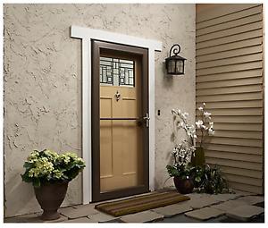 """White Andersen 3000 Series Self-Storing LH Storm Door 32"""" x 80"""""""