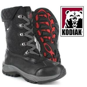 NEW KODIAK REILLY BOOTS WOMEN'S 11 717077 206161983 BLACK WATERPROOF LEATHER WITH QUILTED COLLAR