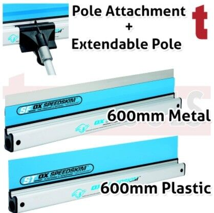 SET OF 2 OX SPEEDSKIM 600MM PLASTERING RULE - METAL & PLASTIC BLADE SF ST 600 + POLE & ATTACHMENT