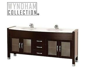NEW* WYNDHAM 71'' VANITY CABINET 188042436 DAYTONA BROWN CABINET ONLY
