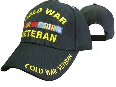 Black US Military Cold War Veteran Hat Baseball Ball Cap Army Navy Marines R17