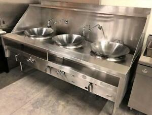 QUEST 3 HOLE GAS WOK - LIKE NEW