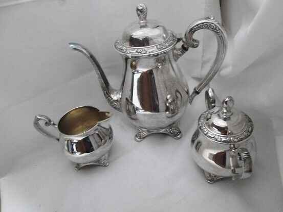 Vintage Oneida Silversmiths Silverplate Footed Tea Set - Teapot, Creamer, Sugar - $17.99