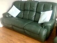 Set Green Leather Recliners Sofa And Armchair - LOCAL FREE DELIVERY