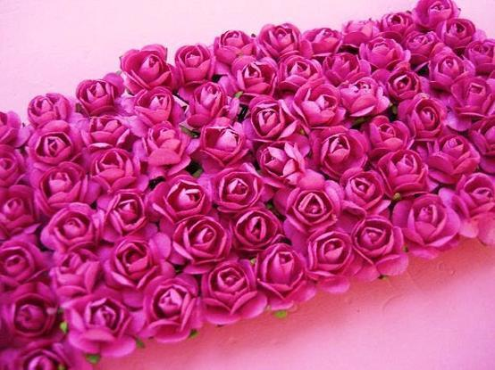 144 Mulberry Paper Rose Flower Bouquet/scrapbooking/wire/Fuchsia H420-Hot Pink