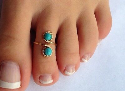 Artisan Handcrafted Genuine 14K Gold and Arizona Turquoise Adjustable Toe Ring