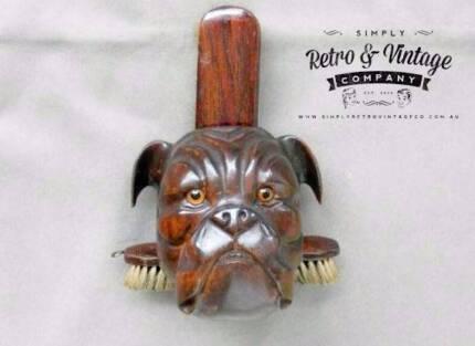 Antique Wooden Gentleman Bulldog Clothes Brush Holder late 19thC