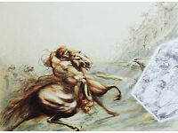 JEAN DUPUIS - 'Le Guerrier' - large hand signed & numbered etching/lithograph - c1980 (Dali int)