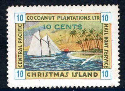 """Christmas Island 1934 """"Mail Boat Service"""" Local 10c Poster Stamp Label   MNH"""
