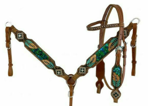 Western Saddle Horse Leather Tack Set Headstall + Breast Collar w/Feather Design