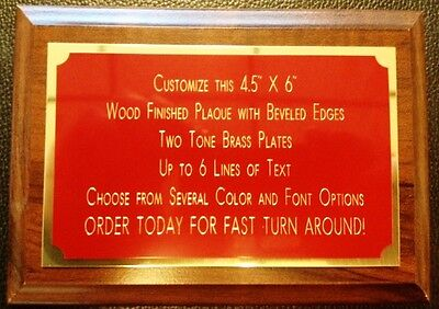 4.5x6 Recognition Award Plaque Trophy With 2 Tone Aluminum Engraved Plates