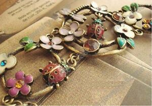 Fashion-Retro-bronze-colour-flower-dragonfly-ladybug-bee-bracelet
