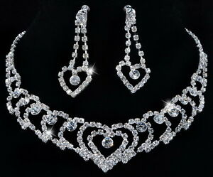 W21978-Heart-Expand-Czech-Rhinestone-Crystal-Clear-Necklace-Earrings-Bridal-1Set