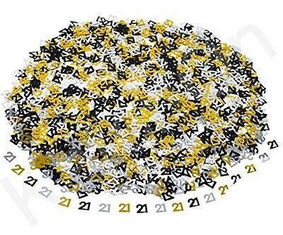 Schwarz Gold & Silber 21. Geburtstagsparty Tisch-Konfetti Dekorationen Alter