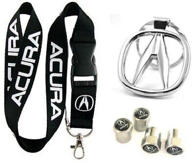 Acura Lanyard + Metal Keychain + Stem Valve Gift - ILX RDX MDX TL Integra TSX RL